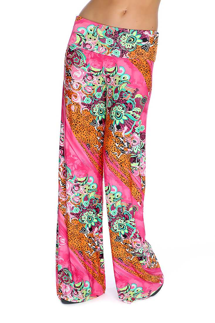 Neon Lime Fuchsia Variety Print Wide Leg Cute Casual Pants