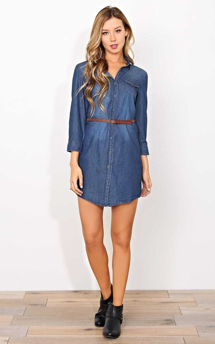 Chill Chambray Belted Dress - LGE - in Size Large by Styles For Less
