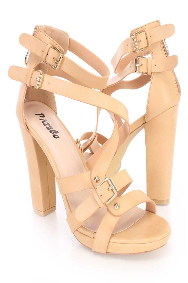 Tan Buckle Strappy Open Toe Heels Faux Leather