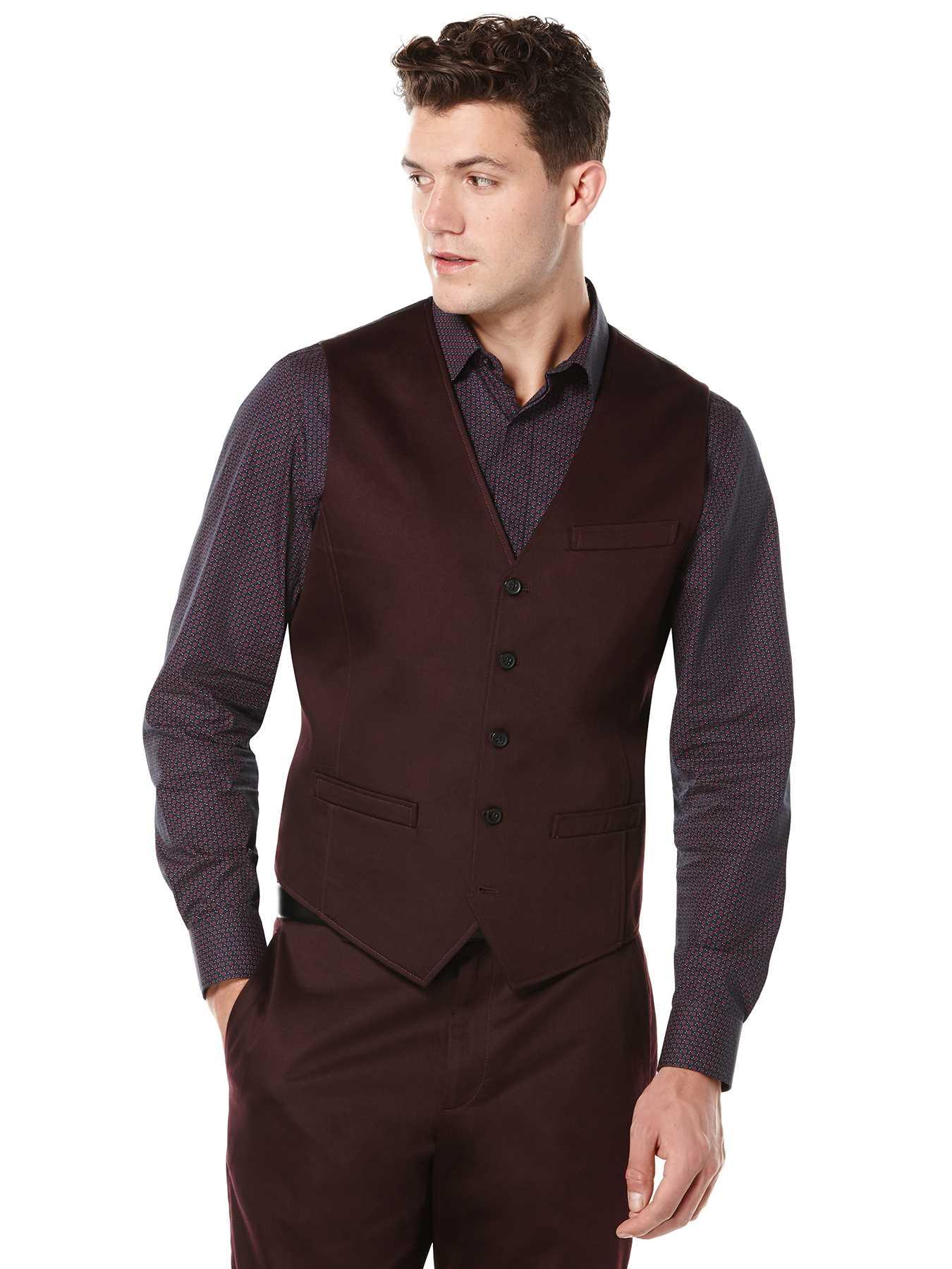 Perry Ellis Solid Satin 5 Button Suit Vest