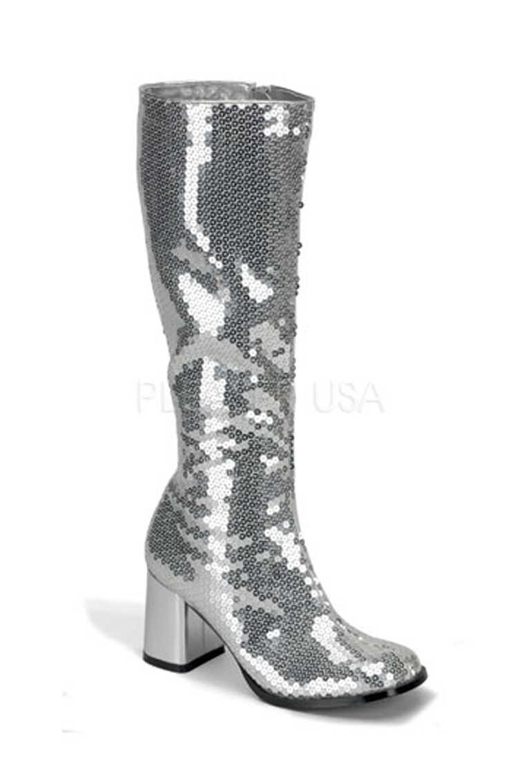 Silver Chunky Block Heel Knee High Boots Sequins