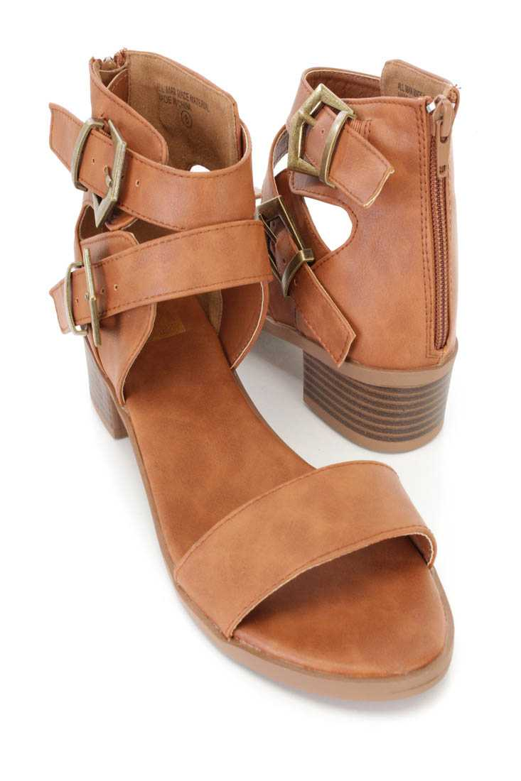 Tan Buckle Strappy Open Toe Sandals Faux Leather