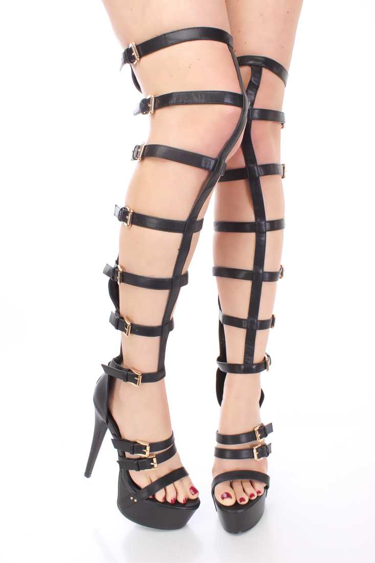 Black Gladiator Platform High Heels Faux Leather