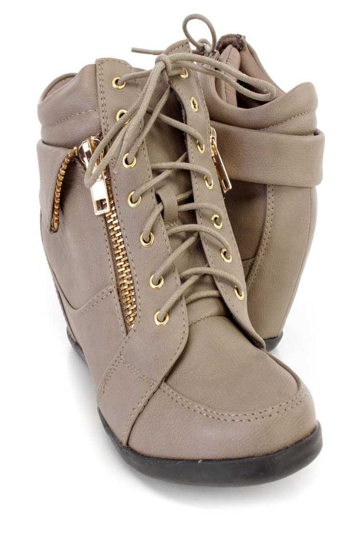Taupe Lace Up Zipper Detail Sneaker Wedges Faux Leather