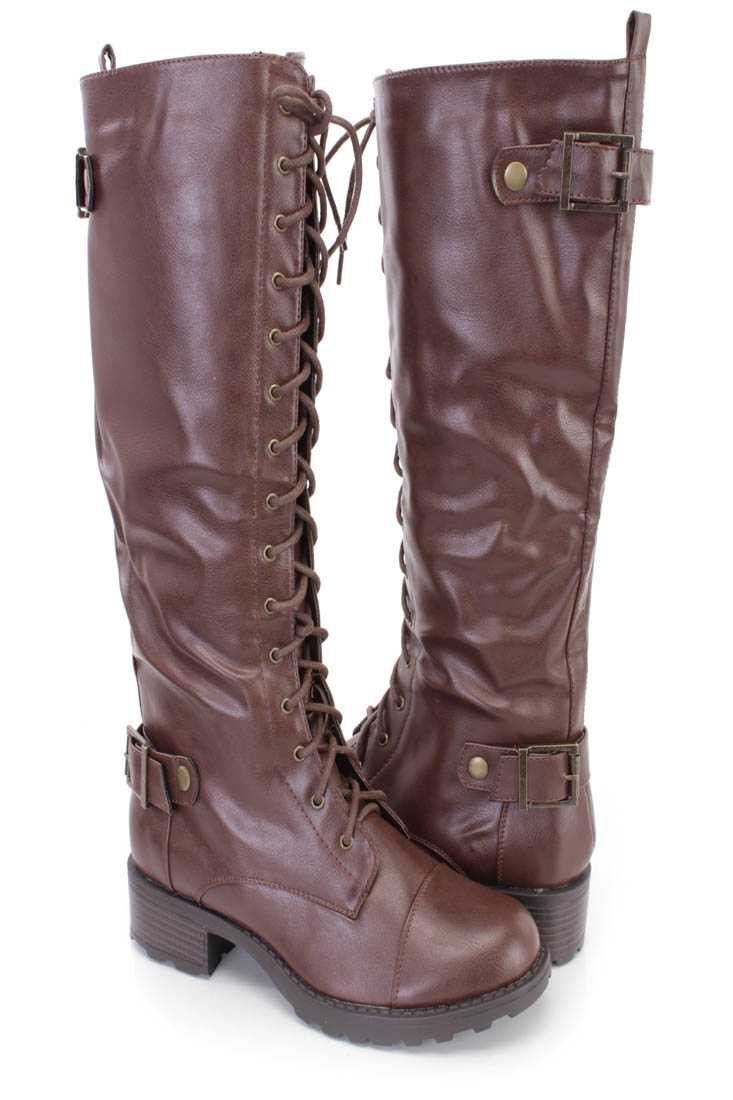 Brown Strappy Lace Up Riding Boots Faux Leather