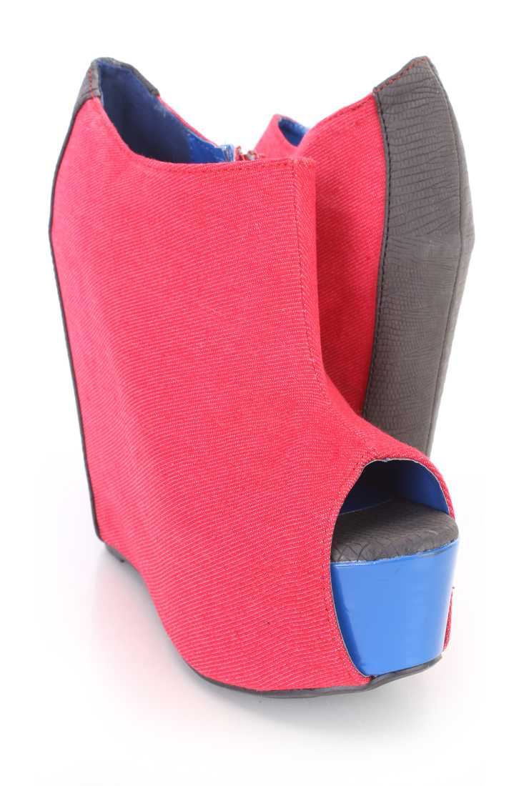 Red Peep Toe Ankle Bootie Wedges Denim
