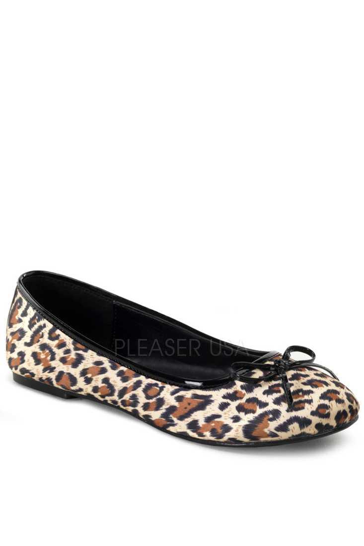 Cheetah Print Bow Tie Closed Toe Flats Satin