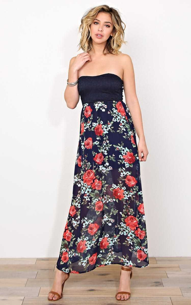 Secret Garden Maxi Dress - SML - Navy Combo in Size Small by Styles For Less