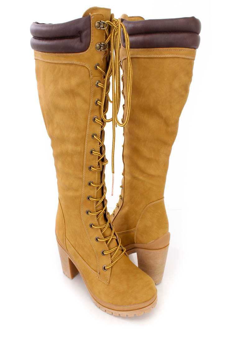 Camel Brown Lace Up Chunky High Heel Boots Faux Leather