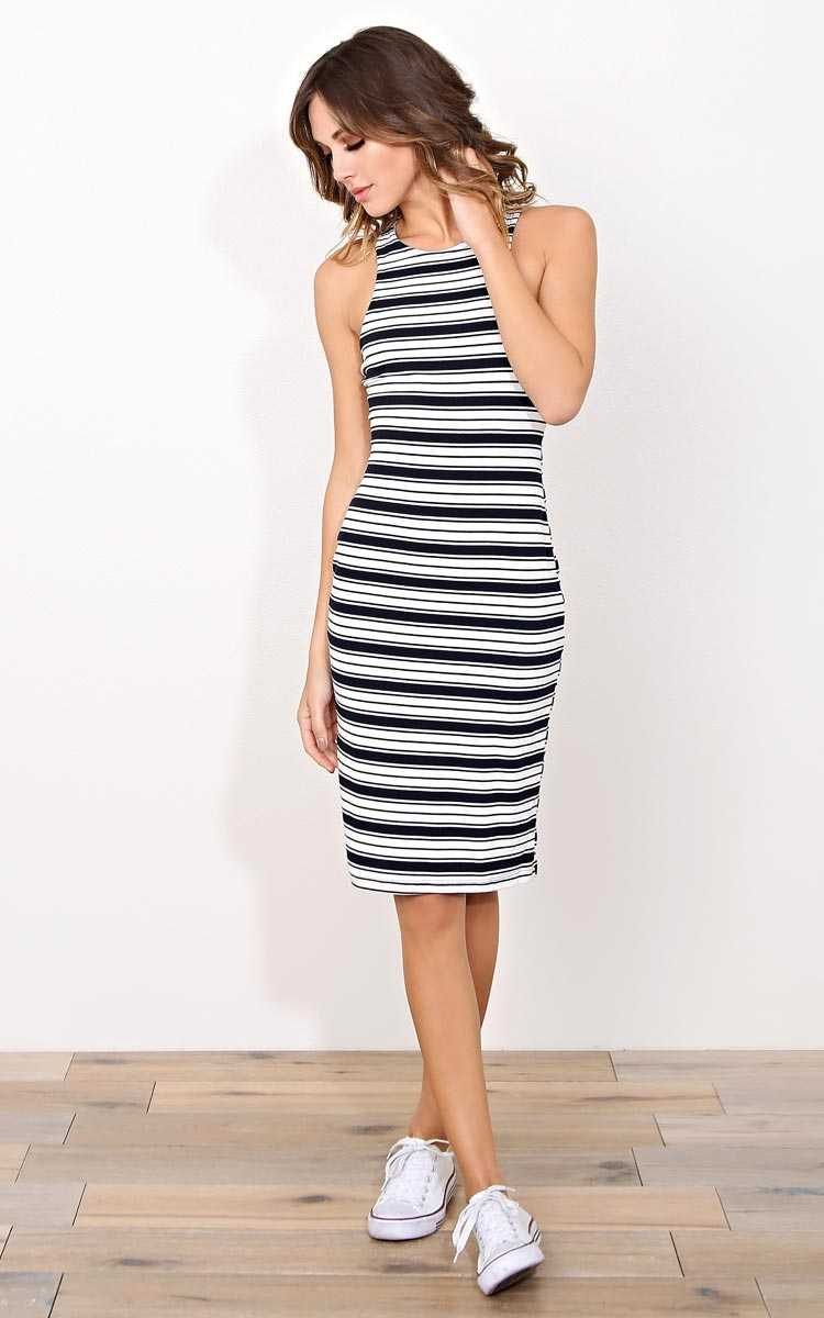 Perfect Timing Rib Knit Midi Dress - - Navy Combo in Size by Styles For Less