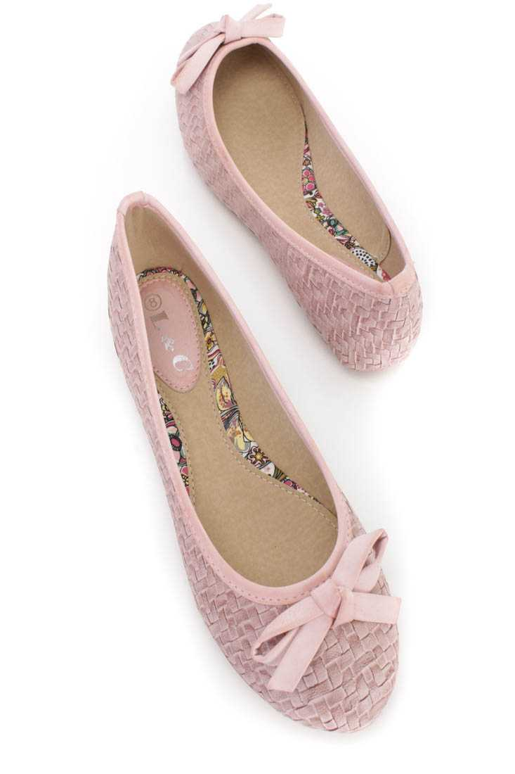 Pink Woven Textured Bow Accent Flats Faux Leather