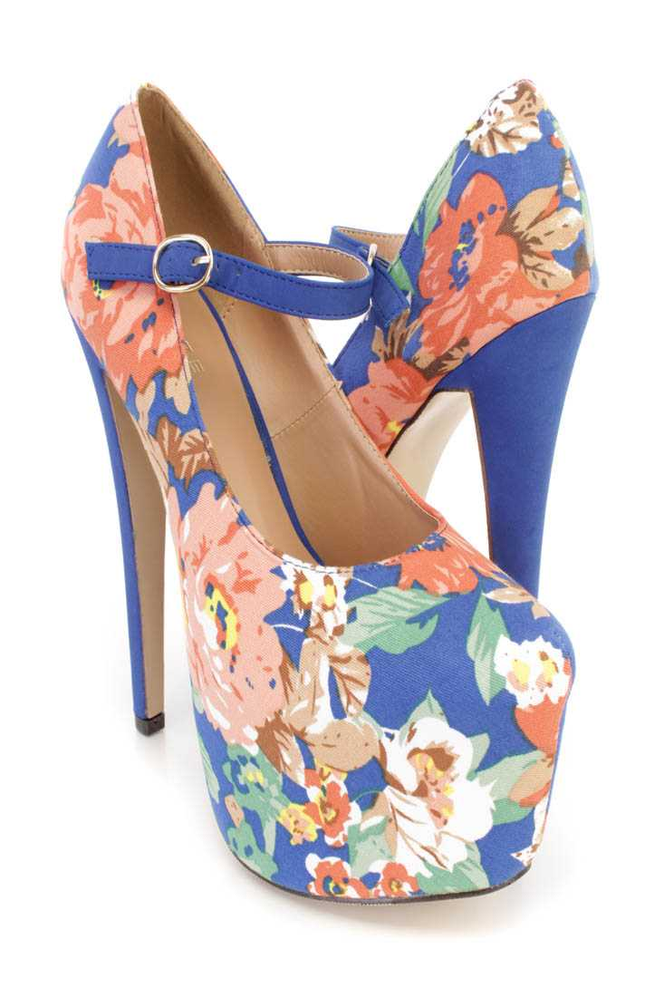 Blue Floral Print Maryjane Platform 6 Inch High Heels Canvas