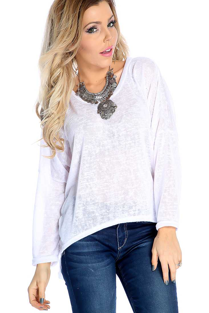 Stylish White Long Sleeve Lightweight Material Casual Top
