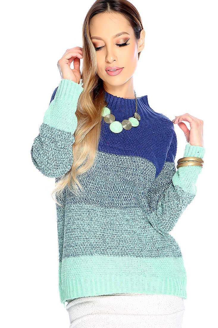 Stylish Navy Mint Long Sleeve Mock Neck Two Tone Sweater