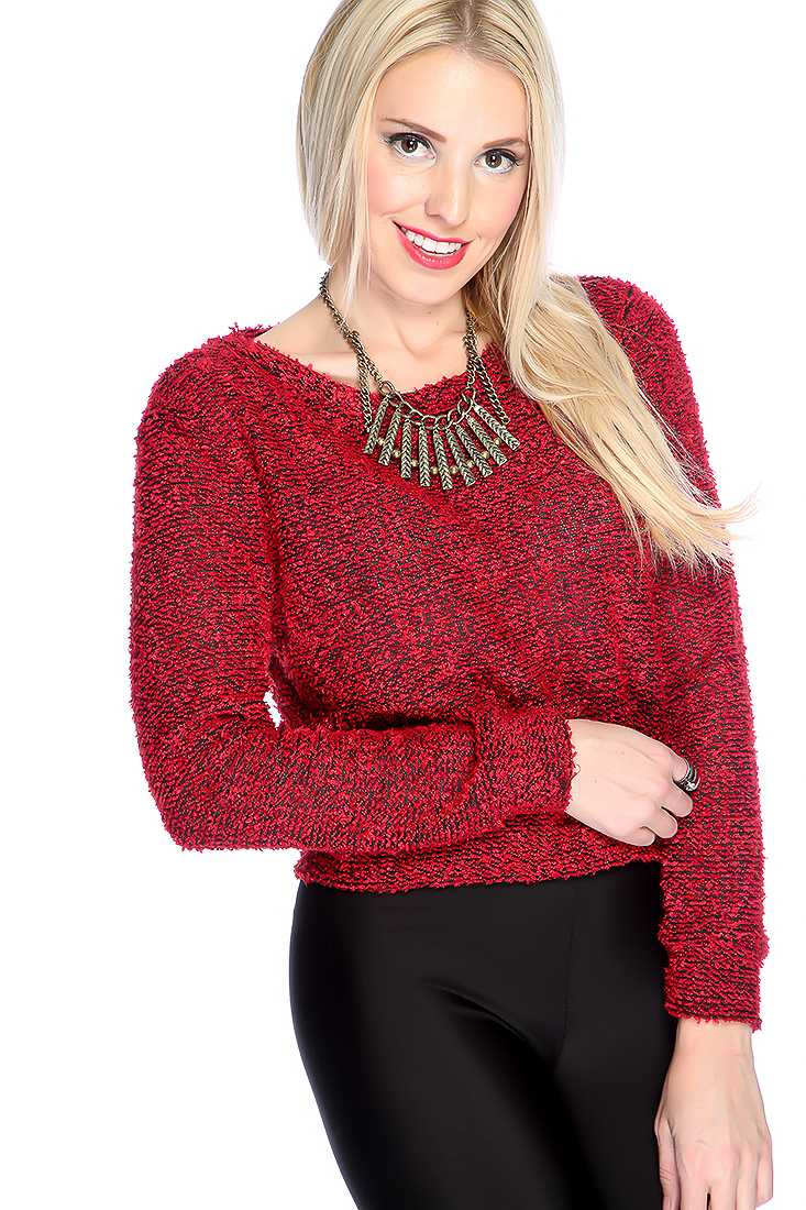 Red Long Sleeve Cropped Casual Sweater Top