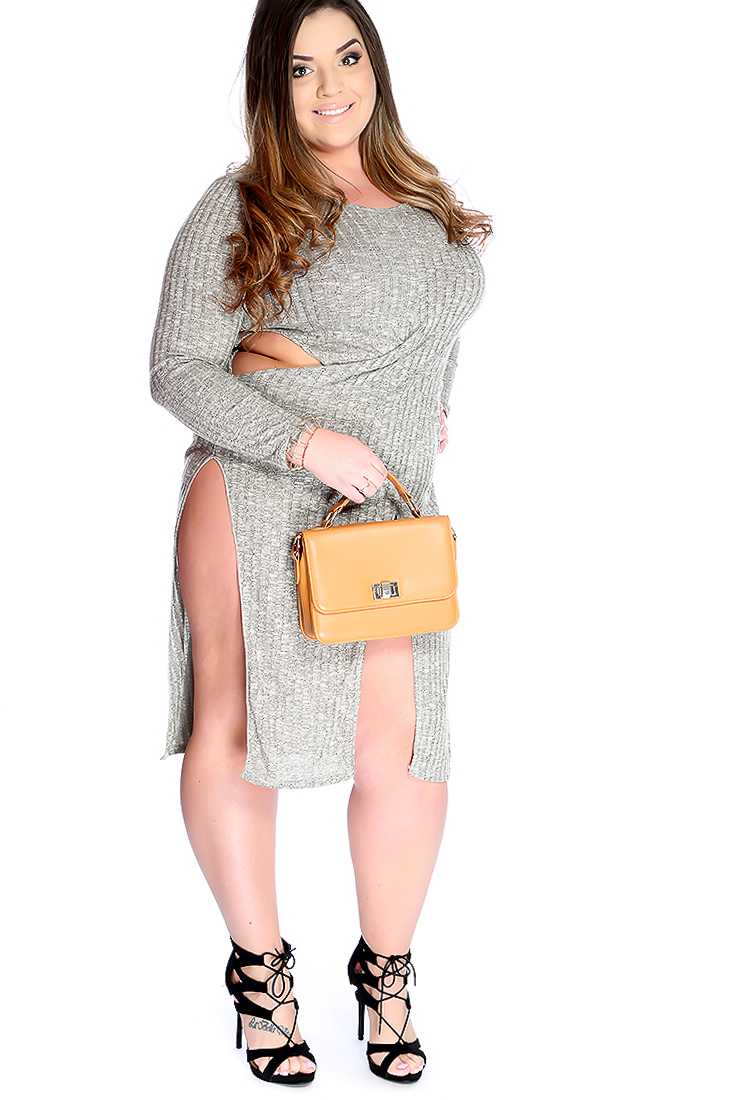 Sexy Olive Knitted Cut Out Side Slit Plus Size Party Dress