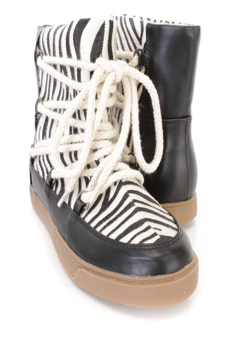 Black White Animal Print Lace Up Booties Faux Leather