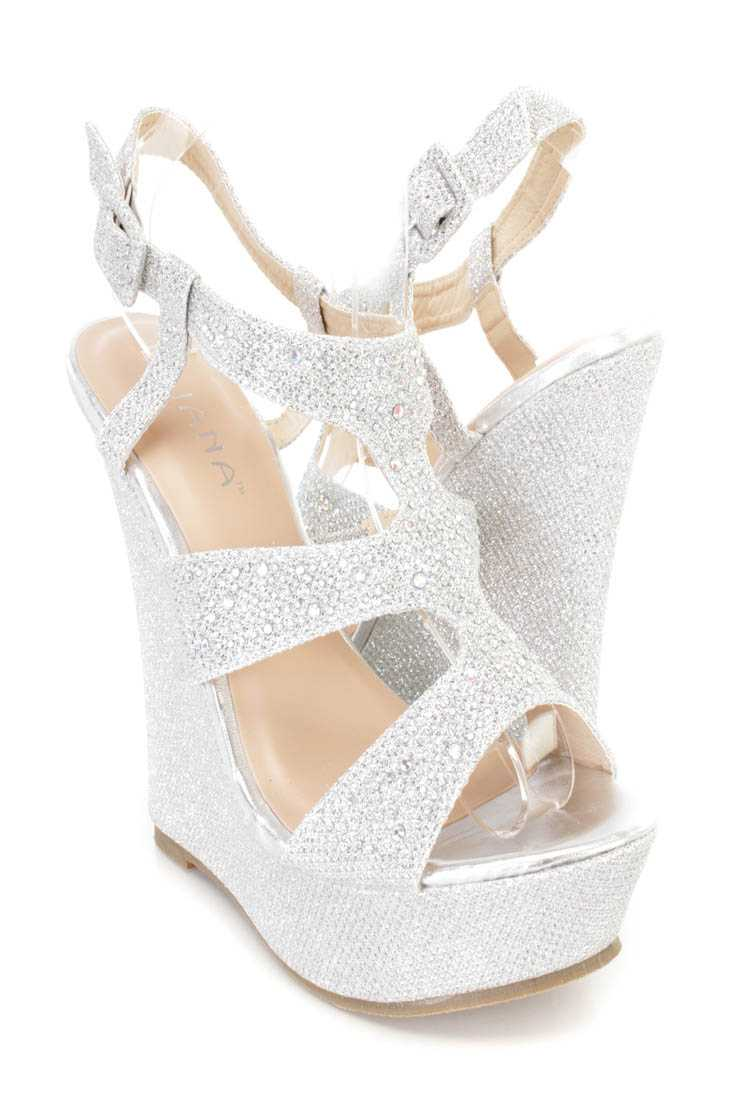 Silver Rhinestone Decor Platform Wedges Shimmer Fabric