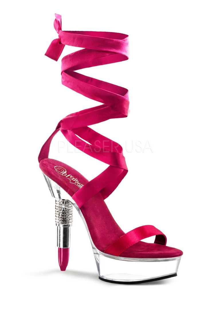 Fuchsia Satin Straps Rhinestone Embedded Lipstick Platform High Heels Patent