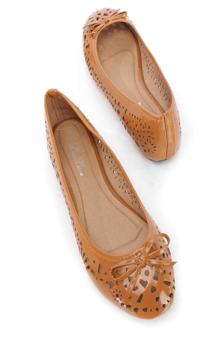 Camel Perforated Bow Tie Ballet Flats Patent