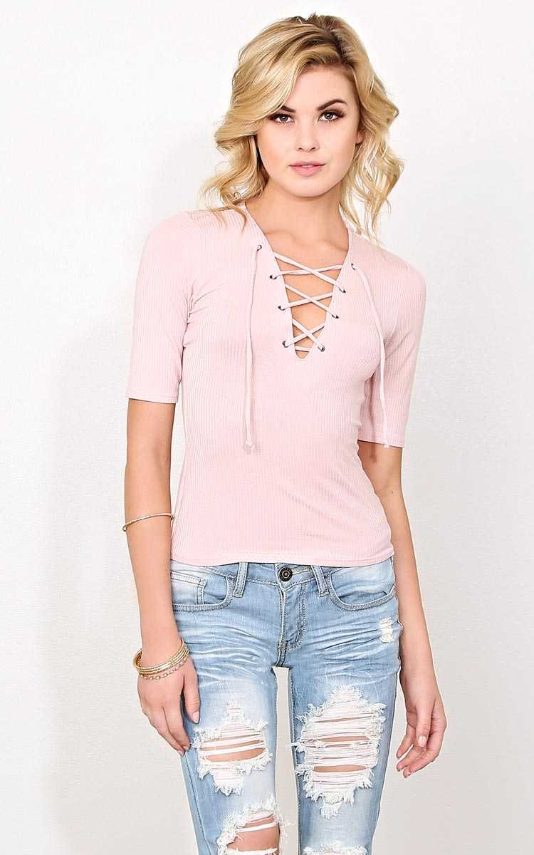 Stacy Rib Knit Lace Up Top - SML - Dusty Rose in Size Small by Styles For Less