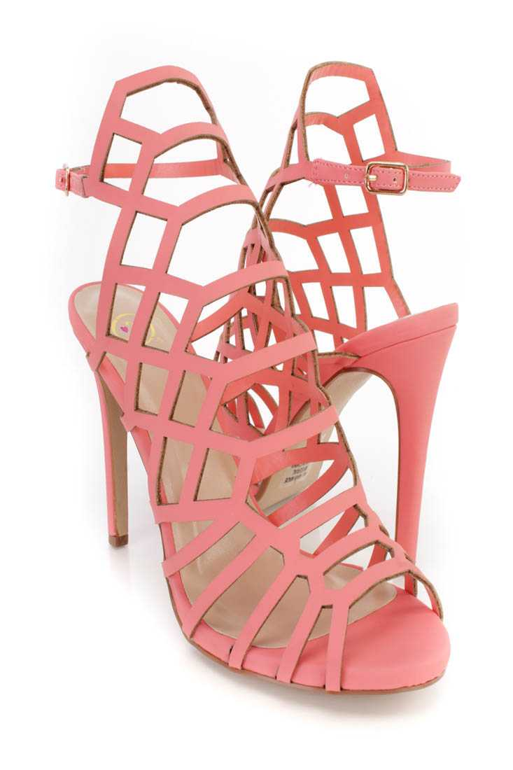 Coral Strappy Single Sole High Heels Faux Leather
