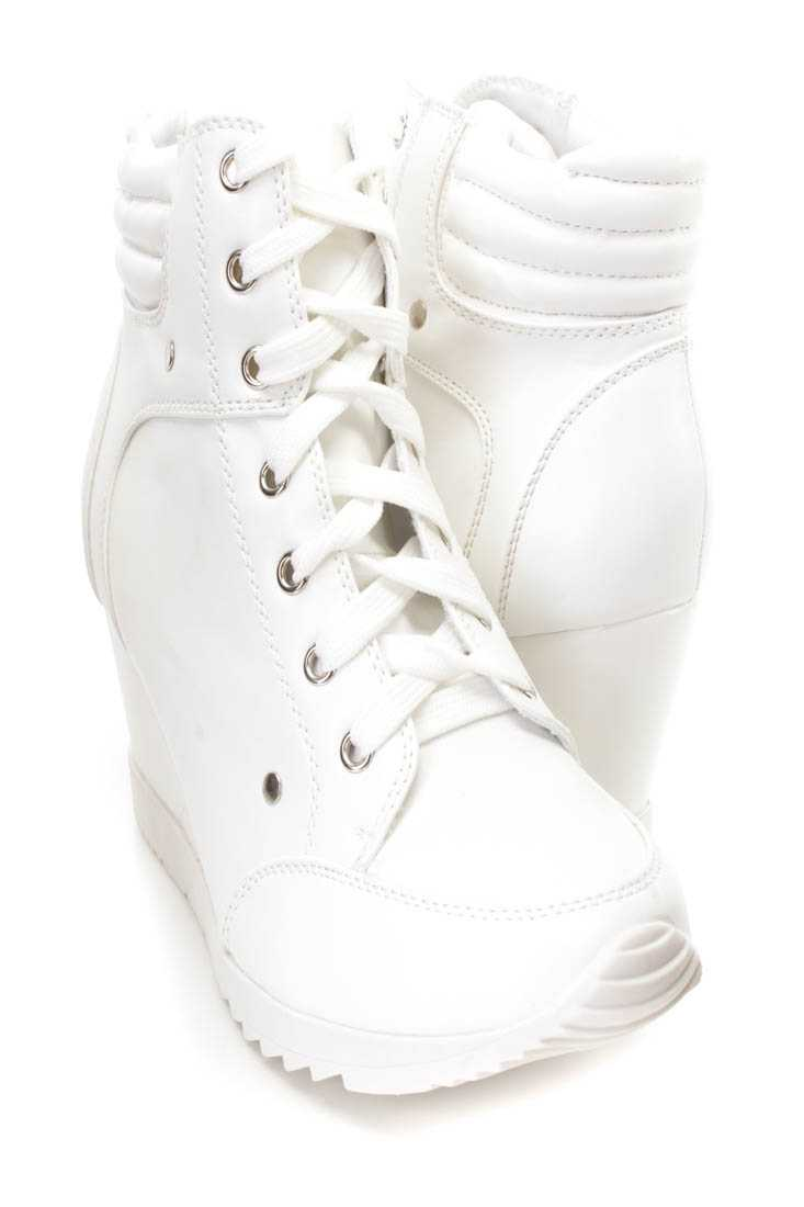 White Lace Up Sneaker Wedges Faux Leather