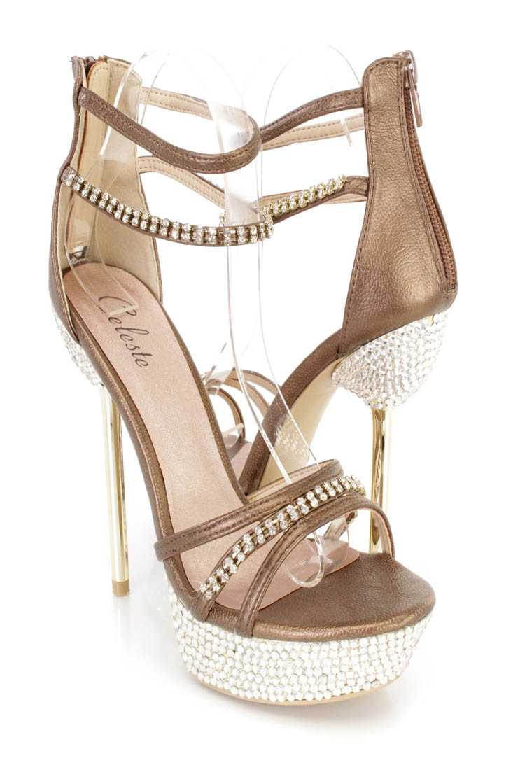 Gold Rhinestone Strappy Platform Stiletto High Heels Faux Leather