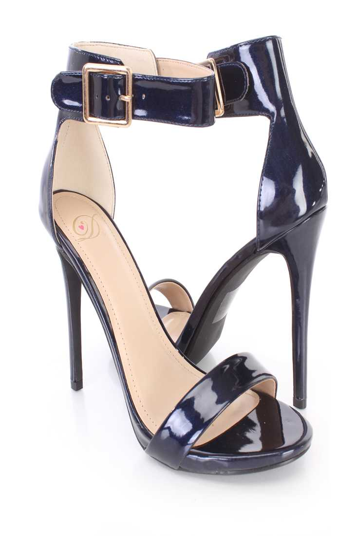 Dark Blue Single Sole High Heels Patent Faux Leather