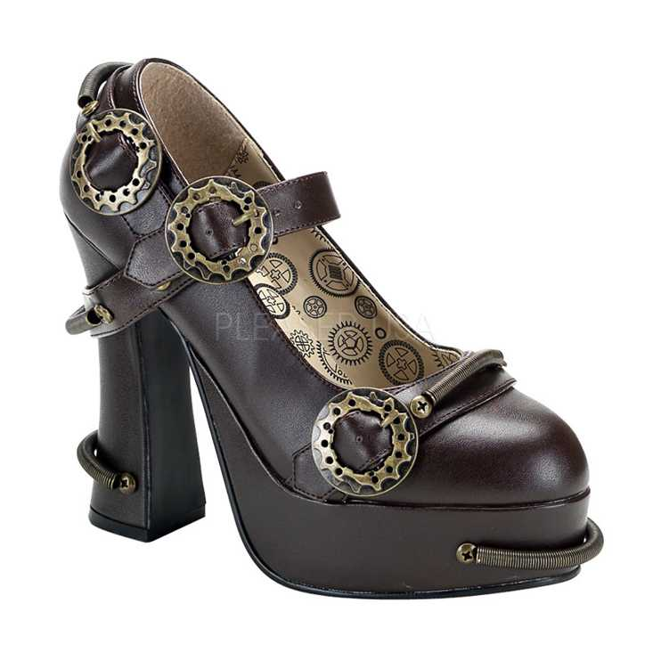 Brown Faux Leather Cog Sprocket Steampunk High Heels