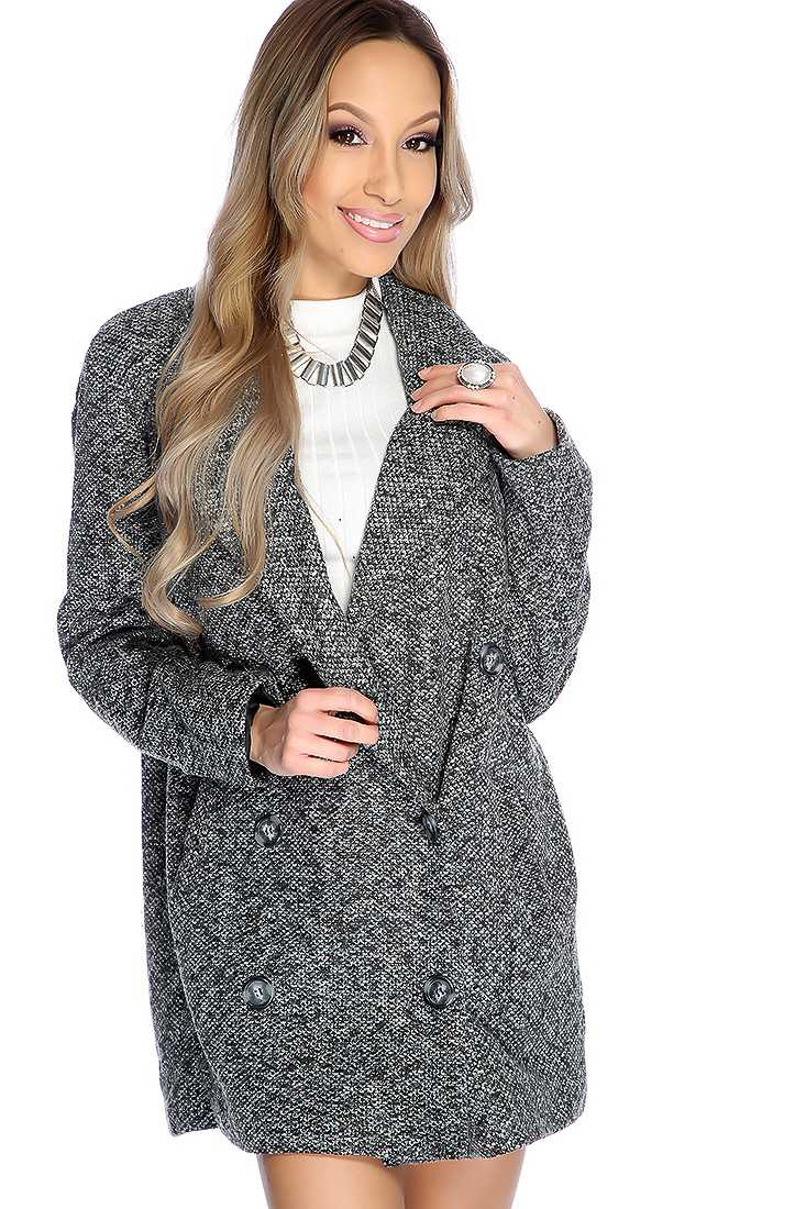 Charcoal Long Sleeve Double Breasted Textured Coat