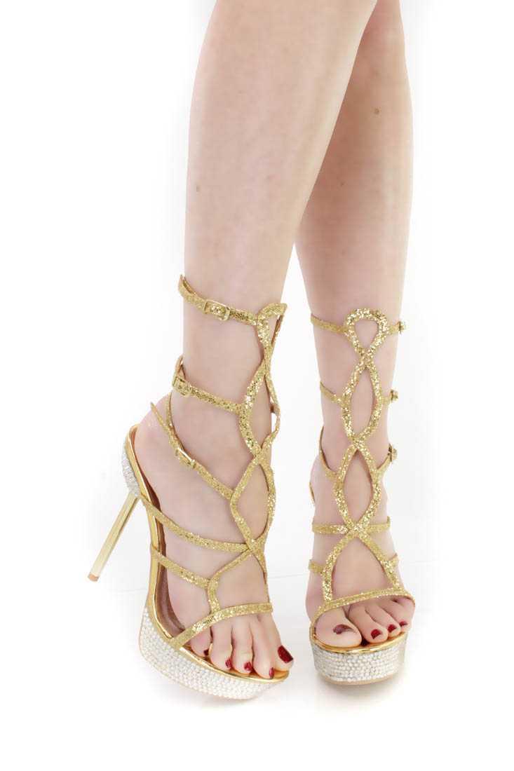 Gold Strappy Rhinestone Platform High Heels Glitter