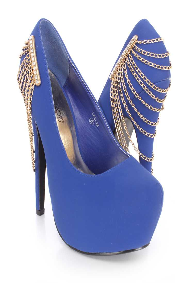 Royal Blue Chain Draped Platform Pump High Heels Nubuck
