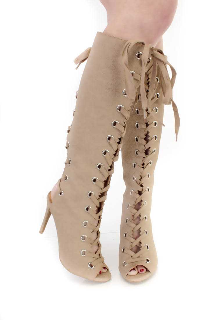 Natural Lace Up Peep Toe Boots Faux Leather