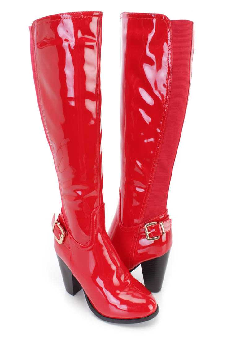 Red Knee High Chunky High Heel Boots Patent