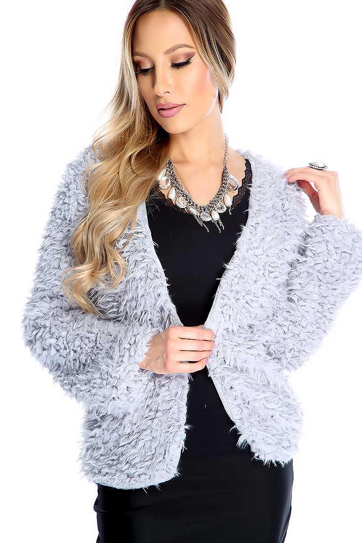Grey Faux Fur Open Front Outerwear