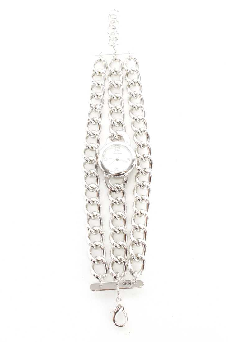 Silver High Polish Metal Chain Link Round Face Watch