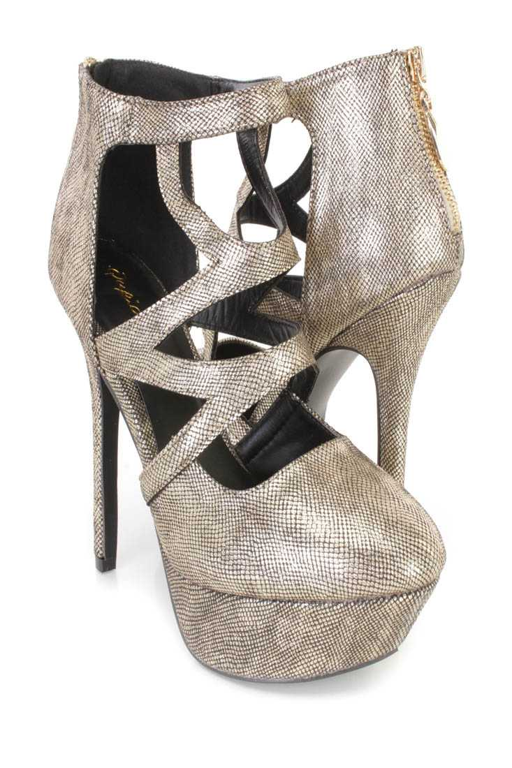 Champagne Cutout Platform High Heels Faux Leather