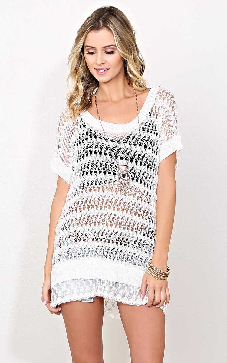 Morning Break Eyelet Sweater - - Cream in Size by Styles For Less