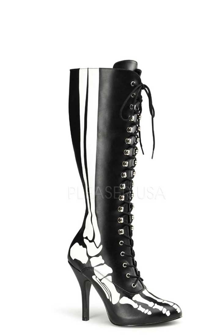 Black Skeleton Print Lace Up Boots Faux Leather