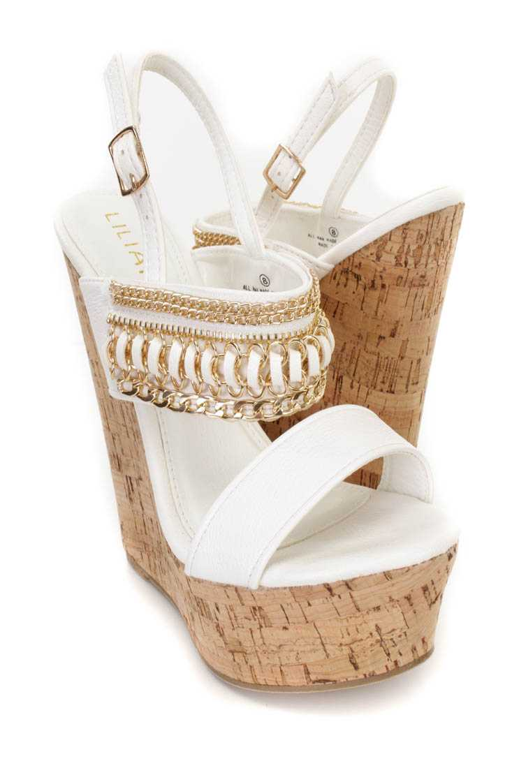 White Link Chain Decor Cork Platform Wedges Faux Leather