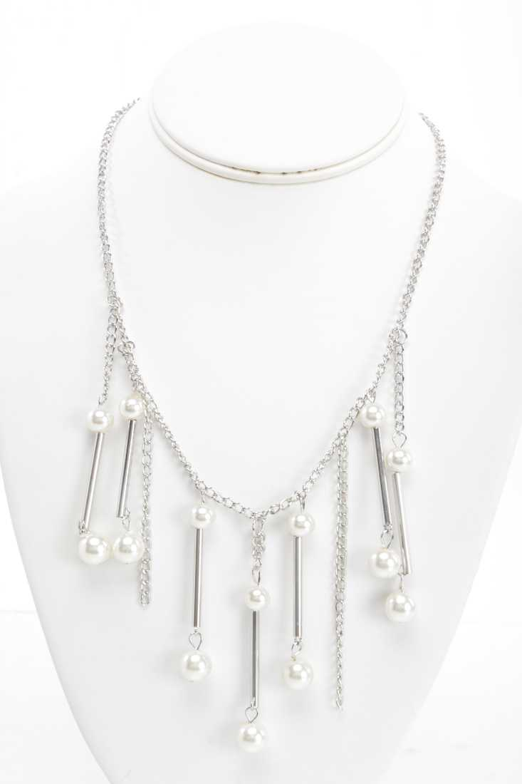 Silver Faux Pearl Beaded Dangle Necklace