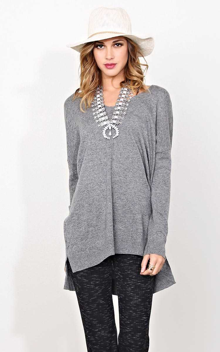 Gemma Sweater Knit Top - Charcoal in Size M/L by Styles For Less