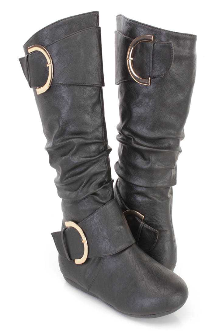Black Slouchy Buckle Accent Flat Boots Faux Leather