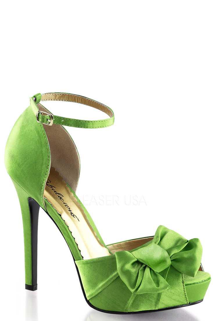 Apple Green Bow Accent Peep Toe High Heels Satin