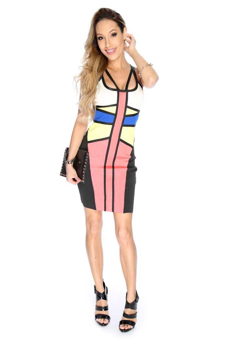 Sexy Black Yellow Stripe Pattern Sleeveless Cut Out Bandage Party Dress