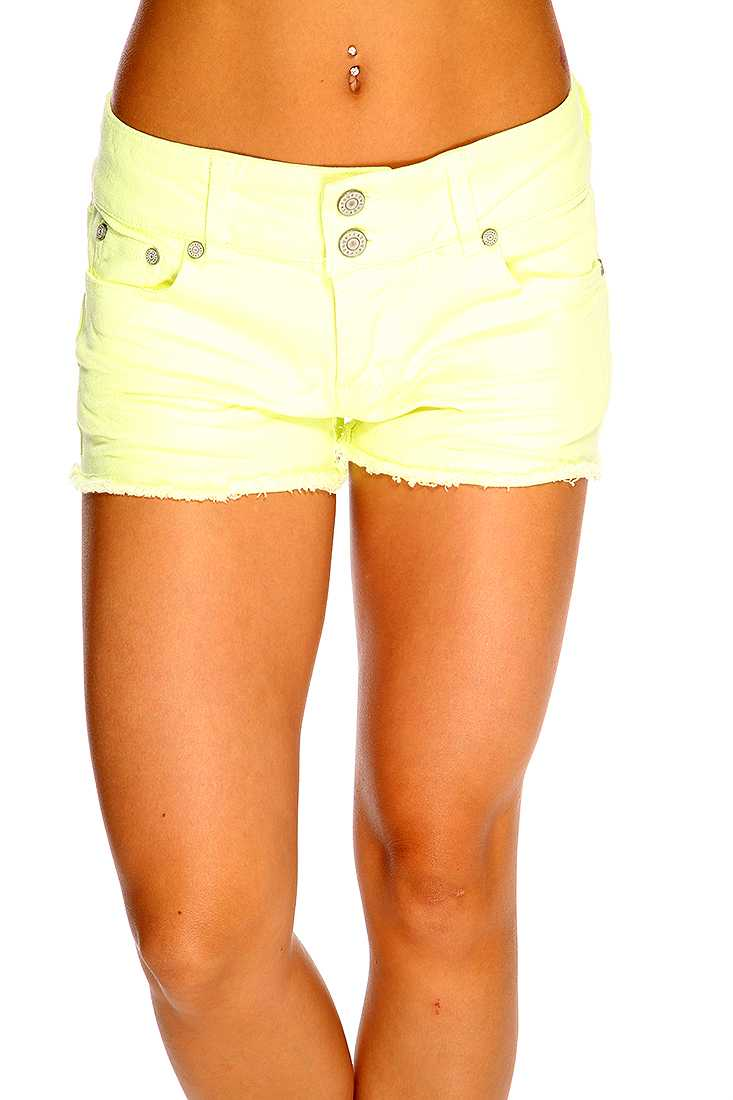 Neon Yellow Pleated Raw Hem Cute Summer Shorts