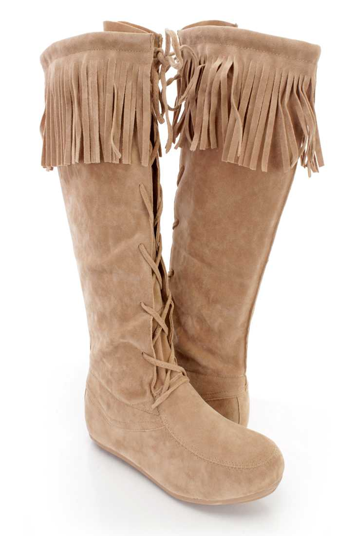 Beige Fringe Trim Lace Up Moccasin Boots Faux Suede