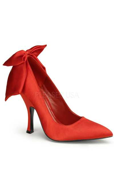 Red Satin Ankle Bow Decor Pointy Toe Sexy Pump High Heels