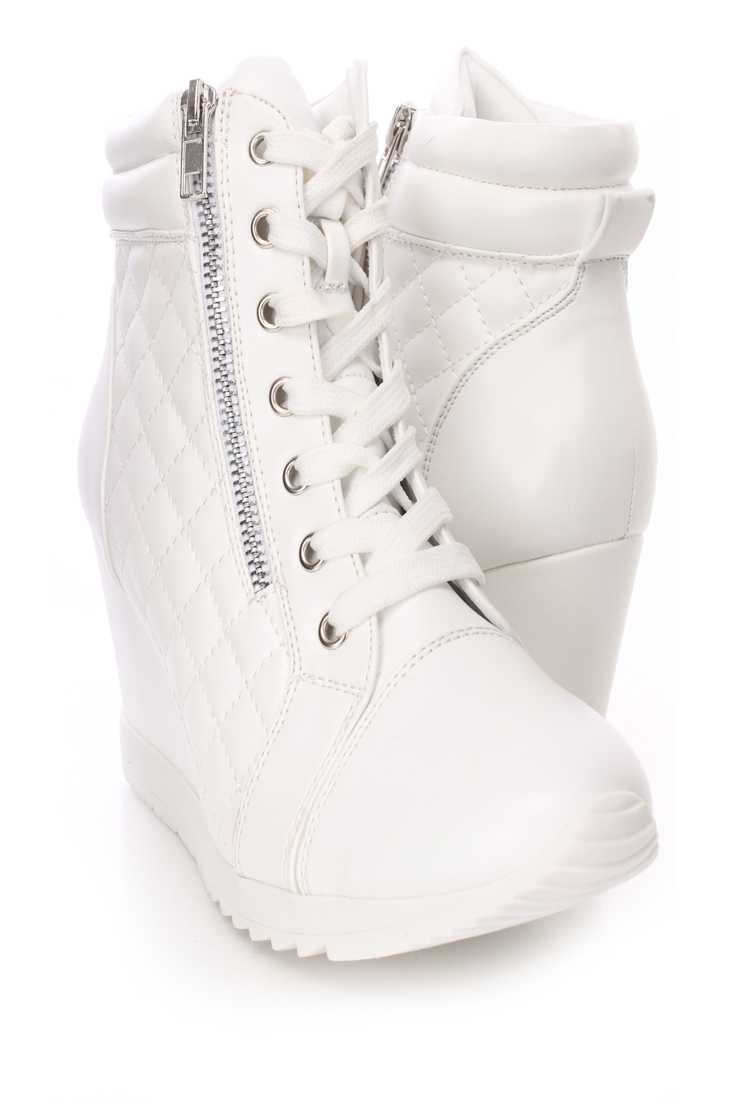 White Quilted Sneaker Wedges Faux Leather